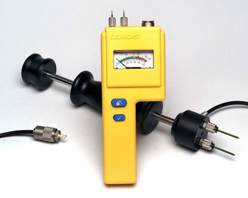 Electrical Resistance Meter : Inspecting and testing subfloors measuring moisture